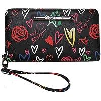 Betsey Johnson Hearts, Flowers & Stats Wallet/Wristlet/Clutch Black