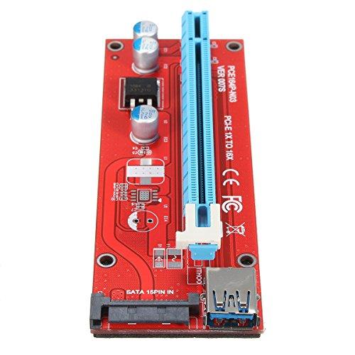 ELEGIANT USB 3.0 PCI-E Express 1x-16xエクステンダーライザーカードアダプター 延長ケーブル ビットコイン採掘 SATA電源スロット付(60cm)