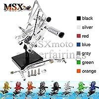 MSX-moto 可倒式 調整型 CNC アジャスタブル バックステップ 適応ヤマハ Yamaha YZF R6 2006 2007 2008 2009 2010 2011 2012 2013 2014 2015 2016 銀/シルバー