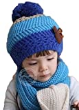 配色が かわいい ニット帽 マフラー セット 子供 キッズ (ブルー×スカイブルー)