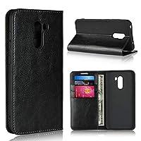Asng Xiaomi Pocophone F1 ケース Xiaomi Pocophone F1 ケース 手帳型 本革 シンプル レトロ 携帯 カバー カードポケット スタンド機能 財布型 カバー (ブラック)