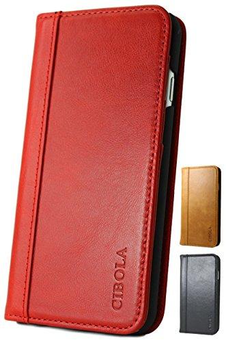 CIBOLA 高級牛革 Galaxy NOTE8 ケース 手帳型 本革 耐衝撃 ギャラクシー ノート 8 ノート8 docomo SC-01K au SCV37 カバー 手帳 革 レザー 財布型 カードホルダー スタンド機能 防塵 (Galaxy Note 8 (磁力なし), レッド)