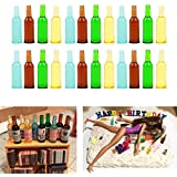 """Luckycivia 24 Pcs 4 Styles Miniature Beer Bottles, Doll Toy Collectible Gift, Beer Cup Toys Model for 1:12 Dollhouse Kitchen Food Accessories (1-3/8""""x3/8"""")"""