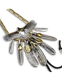 「silver KYASYA」シルバー925 頭金イーグル 特大 金爪フェザー トップ 上金ハート特大フェザー 金 パイプビーズ 豪華カスタムネックレス
