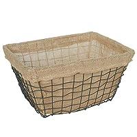 布の綿とリネンのストレージバスケット鍛造鉄グリッドワイヤ仕上げバスケットホーム化粧品マスク収納ボックス、黒 JSFQ (サイズさいず : L l)