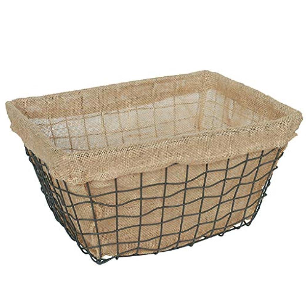 受け入れた遵守する期待するSMMRB 布の綿とリネンのストレージバスケット鍛造鉄グリッドワイヤ仕上げバスケットホーム化粧品マスク収納ボックス、黒 (サイズ さいず : L l)