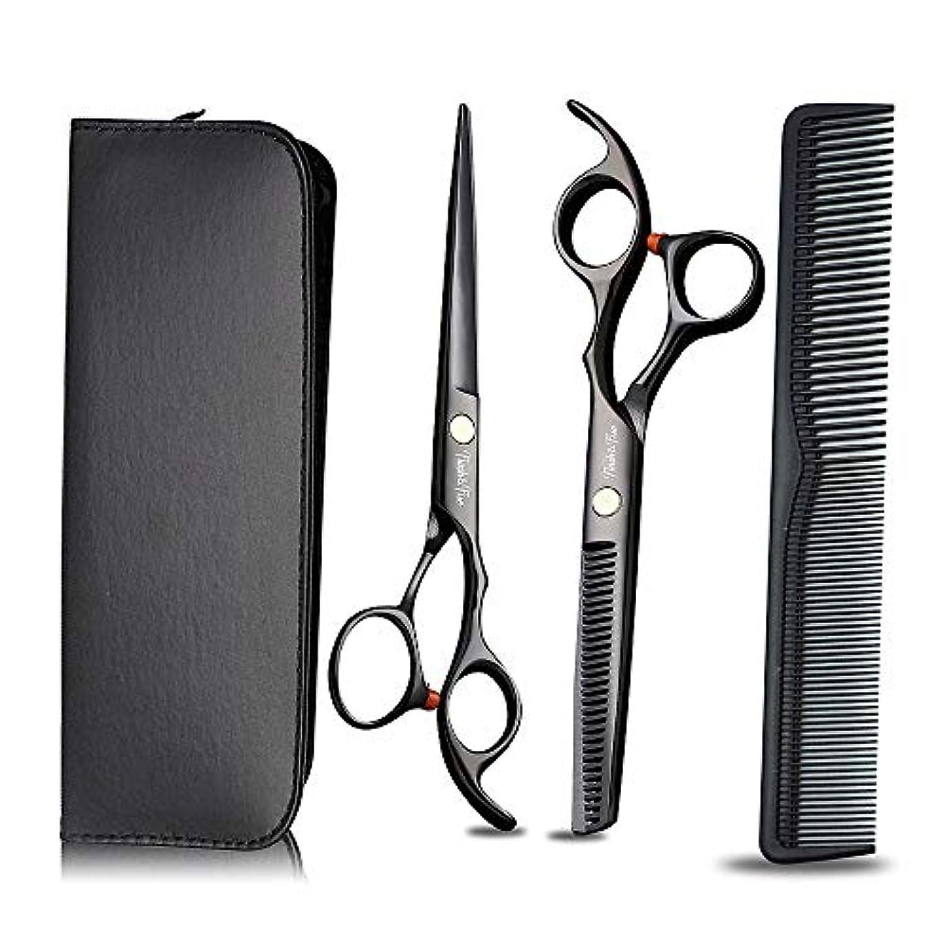 スティック時折花弁プロの理髪はさみと髪の洗練はさみをサロンの理髪店と家庭用に設定、黒