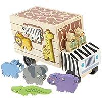 B Baosity 木製 トラック 動物ビルディングブロック はめこみ 子供 赤ちゃん 早期教育玩具