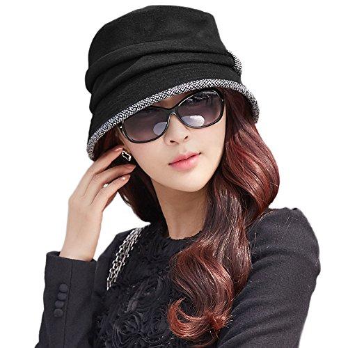 (シッギ)Siggi フェルトハット 帽子 レディース 秋冬 ゆったり ウール混 サイズ調整 バケットハット キャップ ベレー帽子 キャスケット 黒