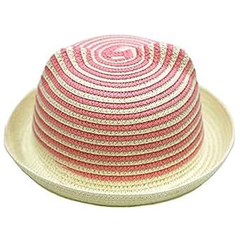 【ノーブランド品】ベビーキッズ 耳付き麦わら帽子 あごゴム付 50cm 51cm 52cm 男の子・女の子用 ピンク