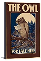 The Owlビンテージポスター(アーティスト:鳥) USA C。1896 21 7/8 x 36 Gallery Canvas LANT-3P-SC-63160-24x36