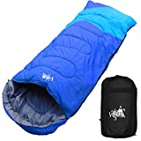 丸洗いのできる寝袋 ワイドサイズ 封筒型 最低使用温度 -5℃ コンパクト収納袋付き シュラフ 寝袋 オールシーズン (ブルー×ライトブルー)