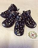 【Dream-studio】(ドリームスタジオ) ペット 用 靴 ドッグ シューズ (ワンちゃんの足を守る必須アイテム・お散歩後の足も綺麗でお手入れ楽々)各サイズ XS S M L XL (ブラック【キラキラハート柄】, XL(5号))