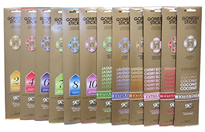 市民認可専門化する(12 Pack, Total 240, Variety Pack) - Gonesh Incense Sticks 12 Variety Value Pack 240sticks(10sticks Each)