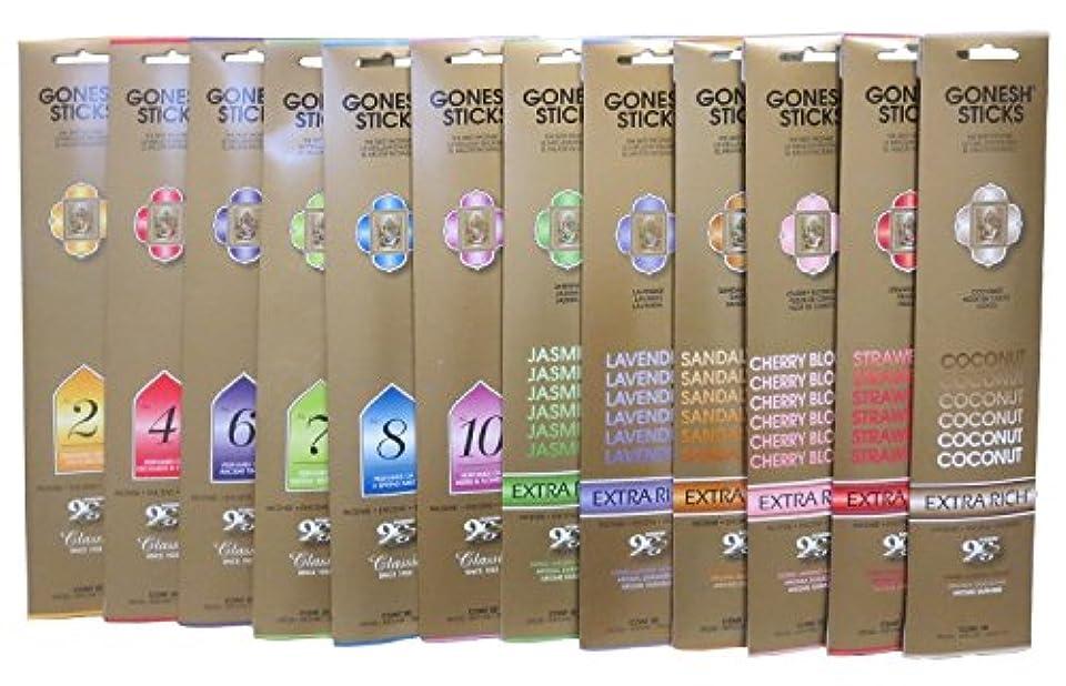 ピークモス爪(12 Pack, Total 240, Variety Pack) - Gonesh Incense Sticks 12 Variety Value Pack 240sticks(10sticks Each)