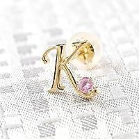 [アトラス] Atrus イニシャル 片耳 ピアス K イエローゴールドk10 ピンクサファイア 10金