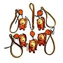 動物 牛革 ストラップ 5個セット サル 猿 ASK-043 マスコット