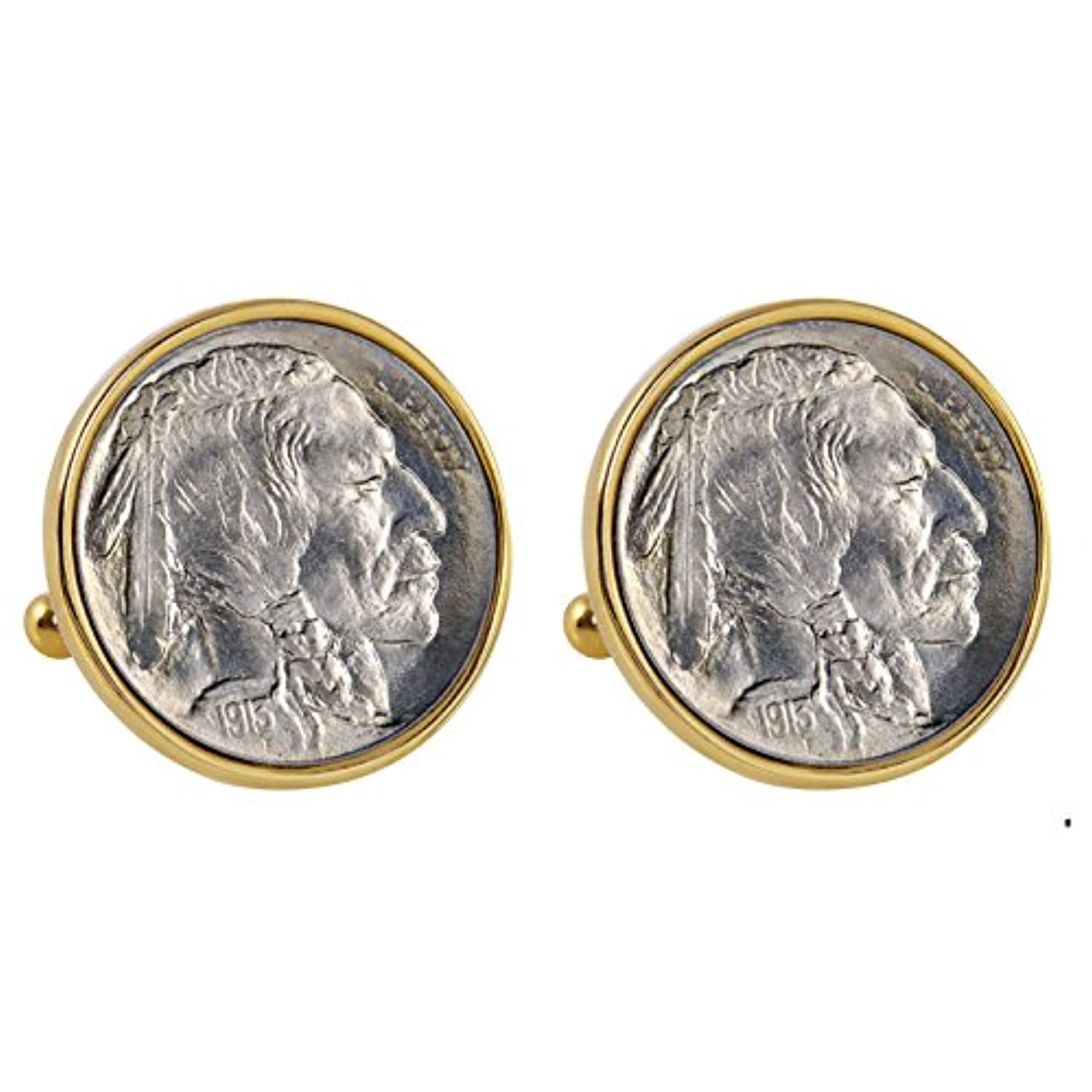 Smithsonian Institution 1913 first-year-of-issueバッファローニッケルゴールドトーンベゼルCoin Cuff Links