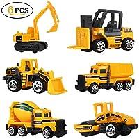 UiiQ ミニカー 6台セット 建設工事作業車両 はたらく車 くるまおもちゃ モデルカー 建設現場コレクション