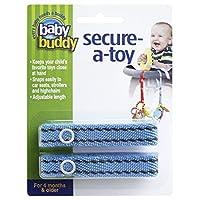 Baby Buddy ベビー バディ Secure-A-Toy 2ct おもちゃストラップ ステッチ 1柄各2本組 【アメリカ製】 Blue×Brown ブルー×ブラウン