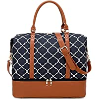 BLUBOON Weekender Bag Women Ladies Overnight Carry-on Tote Canvas Travel Duffle Bag in Trolly Handle with Shoe Compartment