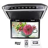 HD高解像度スクリーン  1024*600デジタルディスプレイ 【インダッシュDVDプレーヤー付の車対応 FMトランスミッター内蔵】 1080P動画入力  10.2-型 LCD-TFTモニター フリップダウン 全開180°最大角度  FM変調器  MP4ビデオプレーヤー再生 - Best Reviews Guide