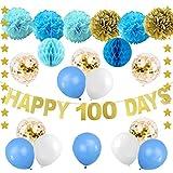 100日お祝い飾り 記念日 誕生日飾り付け 男の子 ブルーゴールド HAPPY 100DAYSバナー ガーランド ペーパーフラワーボール ゴールド紙吹雪入れ風船 ハニカムボール 写真背景