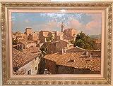 イタリア絵画 油絵 ロマノ 作 「オルヴィエートの街並」 インテリア 港風景