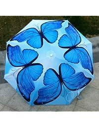 ブルー魅力的な仏塔デザイン防風雨傘6色UV保護Parasol
