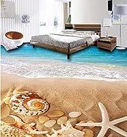 C333 巨大 3D フロアマット 1m*2m* ビーチ 砂浜 海 貝殻 風景 景色 リフォーム 防音 断熱 滑り止めシート 床 壁 天井 はがせるシール