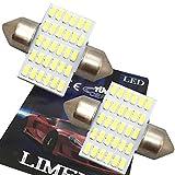 【最新 業界初 爆光】LIMEY T10×31mm LED ホワイト 白 30連 ルームランプ 驚きの明るさ 6500K 12V車専用 取扱説明書&保証書付き 2個入 - T10W30R31