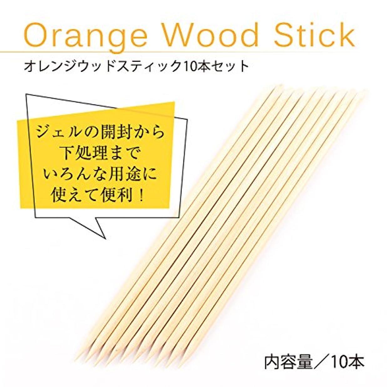 ペット蓋セントオレンジ ウッドスティック 10本セット ジェルネイル
