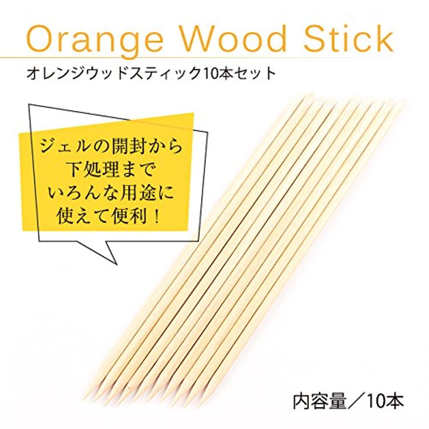 シリンダー記念日赤オレンジ ウッドスティック 10本セット ジェルネイル