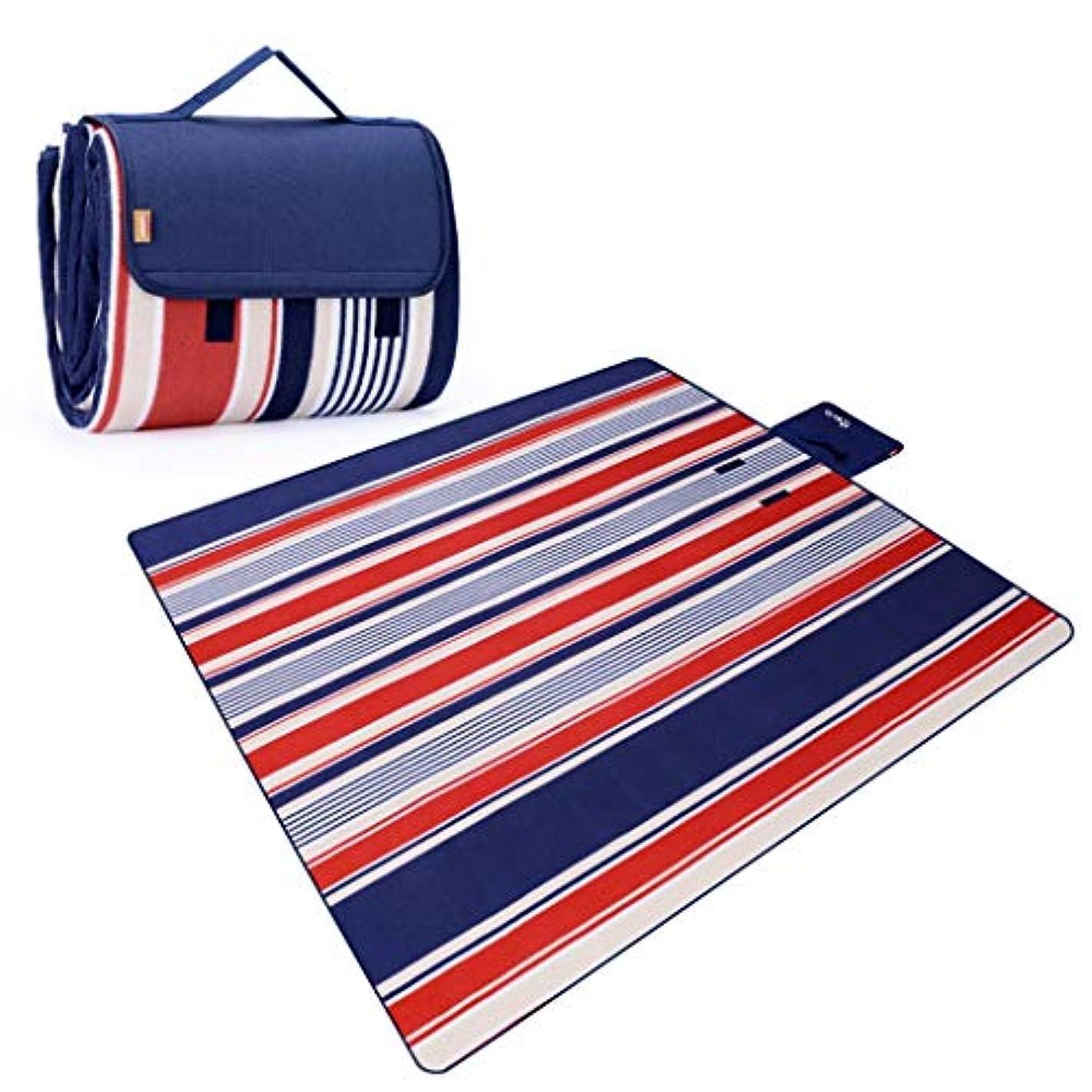 褐色経験的ただやるJucaiyuan ピクニックマット、屋外のピクニックキャンプビーチテントマット、クロールマット、ヨガマット、防水厚い芝生マットピクニック布 (色 : Red and blue strip, Size : 200cmx150)