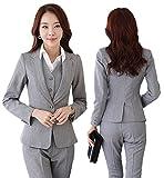 スーツ パンツスーツ セットアップ テーラードジャケット 事務服 レディース ビジネス フォーマル 通勤 オフィス OL 就活 入学式 卒業式(yjafc001/Gray/2XL)
