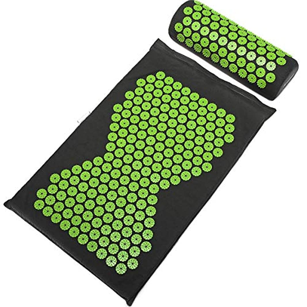マイクロフォン複合優しいSulida ヨガマット マッサージマパッド ストラップ付き マッサージ枕 トレーニングマット 睡眠改善 自宅運動 マット 高密度 持ち運び 滑り止め 血行促進 収納簡単 エコ グリップ力 クッション性