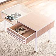 (Glass Table) 31.5 inches (80cm) Wide Tempered Glass Center Table with Stylish Wood Grain and Nordic Style Di