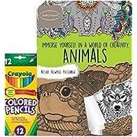 動物大人用カラーリングブックby Kathy Ireland Plus 12 ct Crayola色鉛筆
