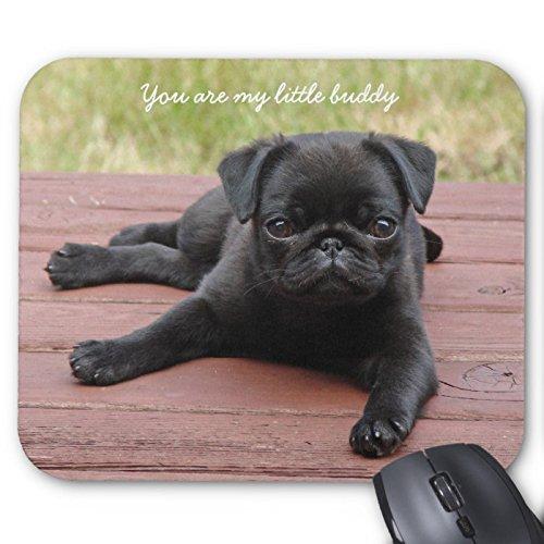 Recaso(レカソ)黒いパグの小犬の マウスパッド 敷き おしゃれ オフィス用 滑り止め 水洗い可能 優れた耐久性 天然ゴム+高品質な布 22x18cm...
