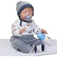 Reborn新生児Boy Sleepingソフトビニールベビーシリコン人形22インチRealisticで子供磁気おもちゃおしゃぶり