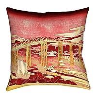 """ArtVerse Katsushika Hokusai Throw Pillow with Japanese Bridge, 20"""" x 20"""", Red/Orange [並行輸入品]"""