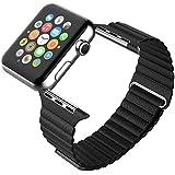 Apple Watch バンド, Mr.Pro レザーループ アップルウォッチ用時計バンド交換ベルト (42mm, ブラック)