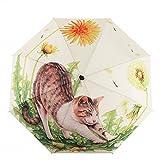 ITrustit 折りたたみ傘 手動 折畳み傘 花 桜 猫柄 耐風撥水 晴雨兼用 収納ポーチ付きQ01003(#15)