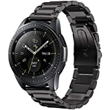 VICARA Compatible Samsung Galaxy Watch(42mm)Band, Solid Stainless Steel Metal 20mm Business Replacement Bracelet Strap with double button butterfly clasp Compatible Samsung Galaxy Watch 42mm SM-R810/SM-R815 Smart Watch (Black)