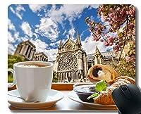 ゲーミングマウスパッドカスタム、ノートルダム・ド・パリ朝食春フランスクロワッサンマウスパッドステッチボーダー