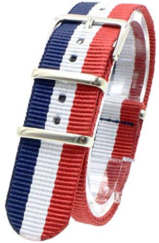 [2PiS] ( トリコロール ネイビー・ホワイト・レッド : 18mm ) NATO 腕時計ベルト ナイロン 替えバンド ストラップ 交換マニュアル付 2-1-18