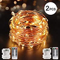 Topmart 2 Pack Fairy Lights 33ft 100 LED String Lights with 8 Modes Copper Wire Waterproof Firefly Lights for Outdoor and Indoor [並行輸入品]