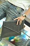 選べる 6種類 クロコダイル レザー 革 編み込 クラッチ バッグ ビジネス バッグ ハンド バッグ タブレット 書類 持ち運びに メンズ レディース 男 女 兼用 (クラッチバッグ Ver3(黒))