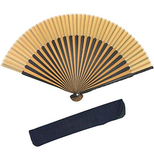 (キョウエツ) KYOETSU 正絹 メンズ夏扇子 2色竹黒 扇子袋 紳士 約22cm 11-17 (16)
