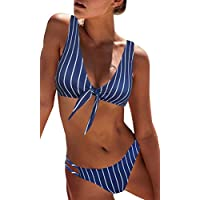 Blooming Jelly Women Bikini Sets Navy Blue Stripe Tie Knot Front,Cut Out Low Waist Bottom Removable Padded Bathing Suit